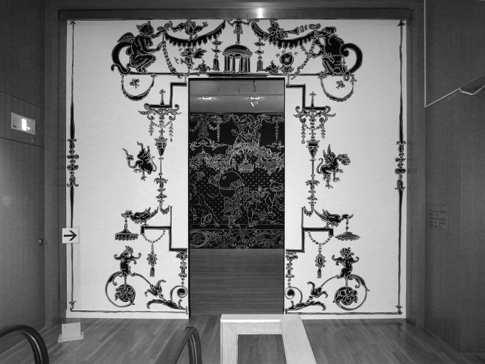 ·: Nicolas Buffe :· - Entrance wall drawing  marker ink  4 x 4m