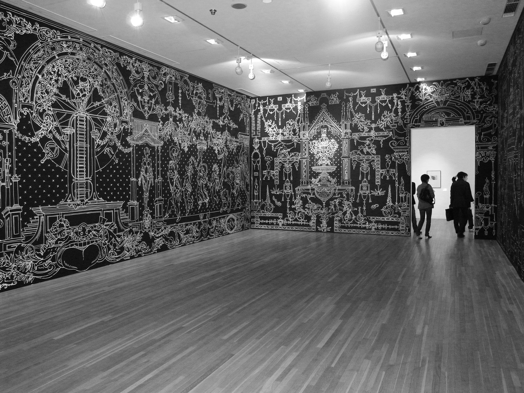 ·: Nicolas Buffe :· - Fountain of life - Golden age - wall drawing  marker ink  13x4m