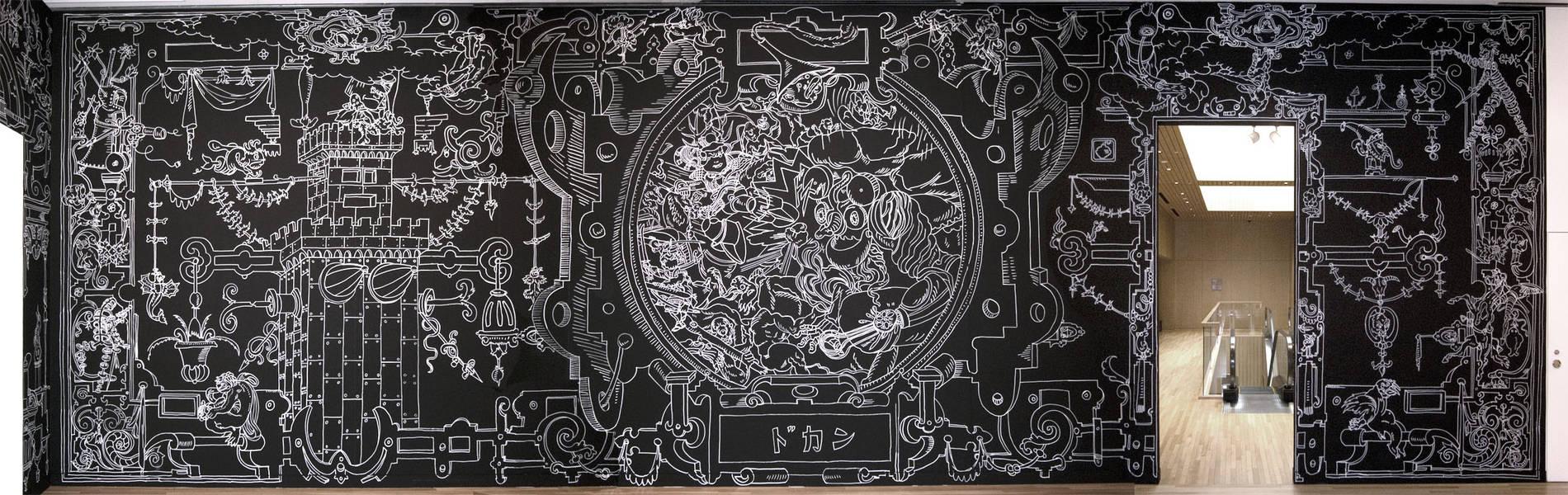 ·: Nicolas Buffe :· - Nicolas Buffe - 2008---04 - 屋上庭園 : Roof Gardens - 11 iron age, wall drawing, marker ink, 13x4m