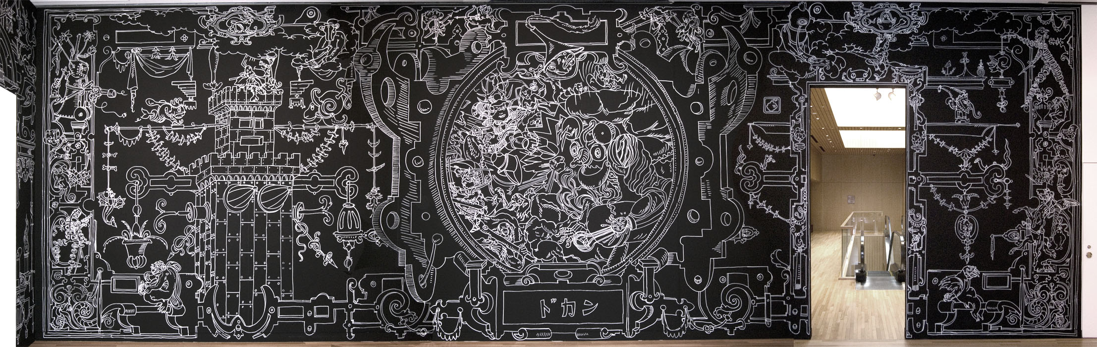 : Roof Gardens - 11 iron age, wall drawing, marker ink, 13x4m