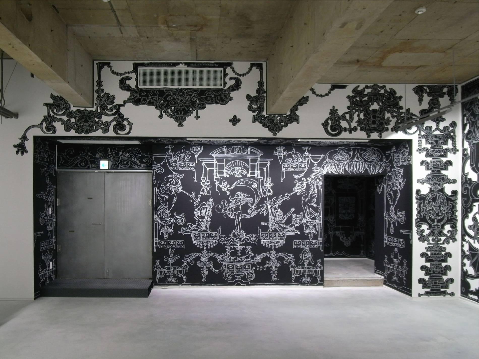 ·: Nicolas Buffe :· - Nicolas Buffe - 2010---01 - La Tour, Megumi Ogita Gallery, 1, wall drawing, chalk, paint-mini