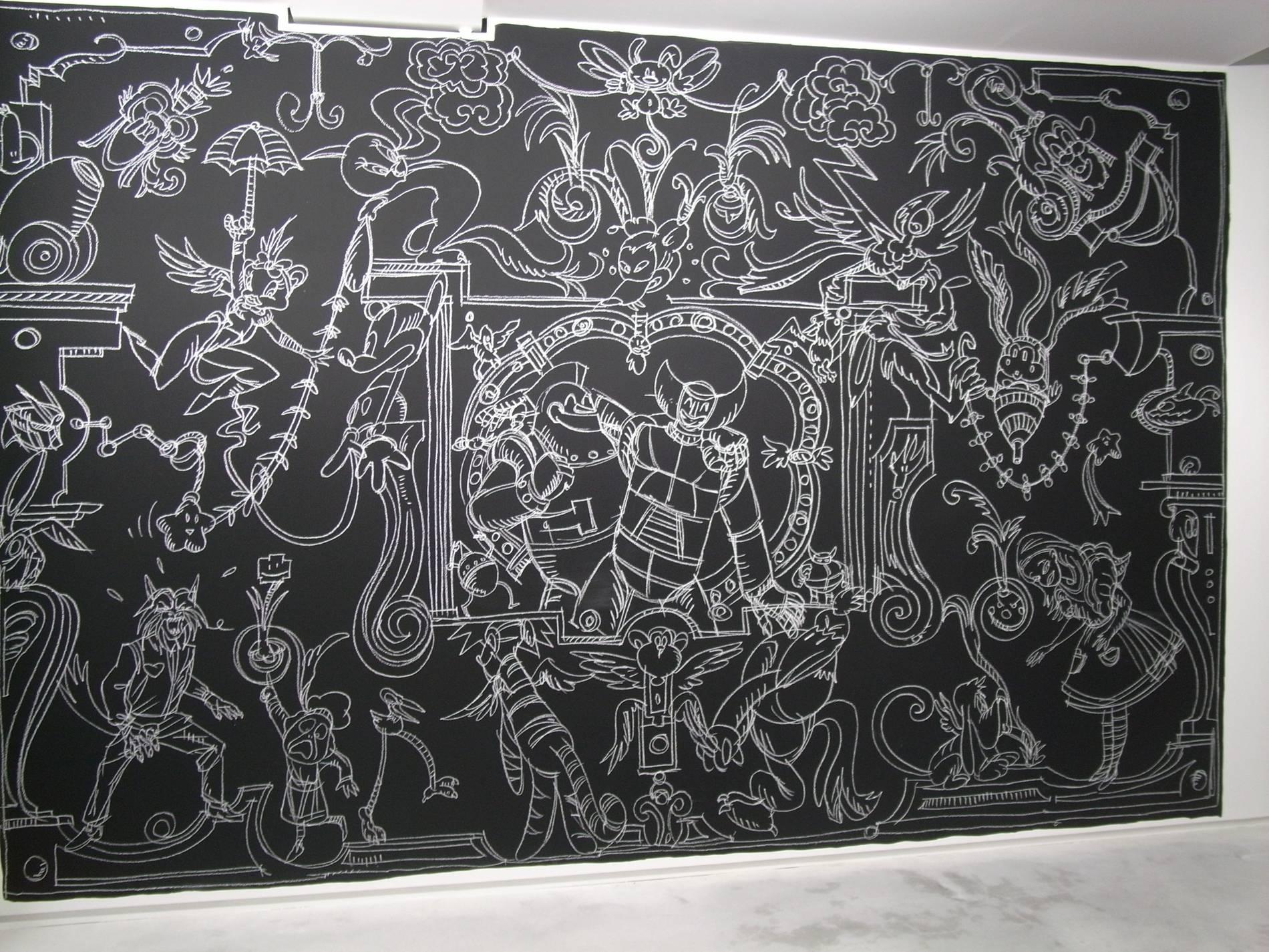 ·: Nicolas Buffe :· - Nicolas-Buffe-2010-01-La-Tour-Megumi-Ogita-Gallery-6-wall-drawing-chalk-paint