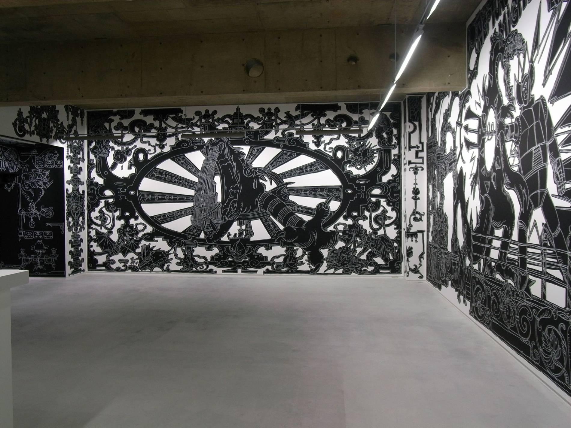 ·: Nicolas Buffe :· - Nicolas Buffe - 2010---01 - La Tour, Megumi Ogita Gallery, 6, wall drawing, chalk, paint-mini