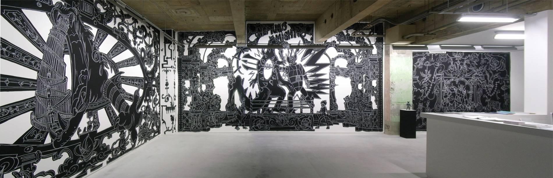 ·: Nicolas Buffe :· - Nicolas Buffe - 2010---01 - La Tour, Megumi Ogita Gallery, panoramique_01_19x61cm, wall drawing, chalk, paint-mini