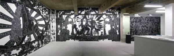 Nicolas Buffe - 2010---01 - La Tour, Megumi Ogita Gallery, panoramique_01_19x61cm, wall drawing, chalk, paint-mini