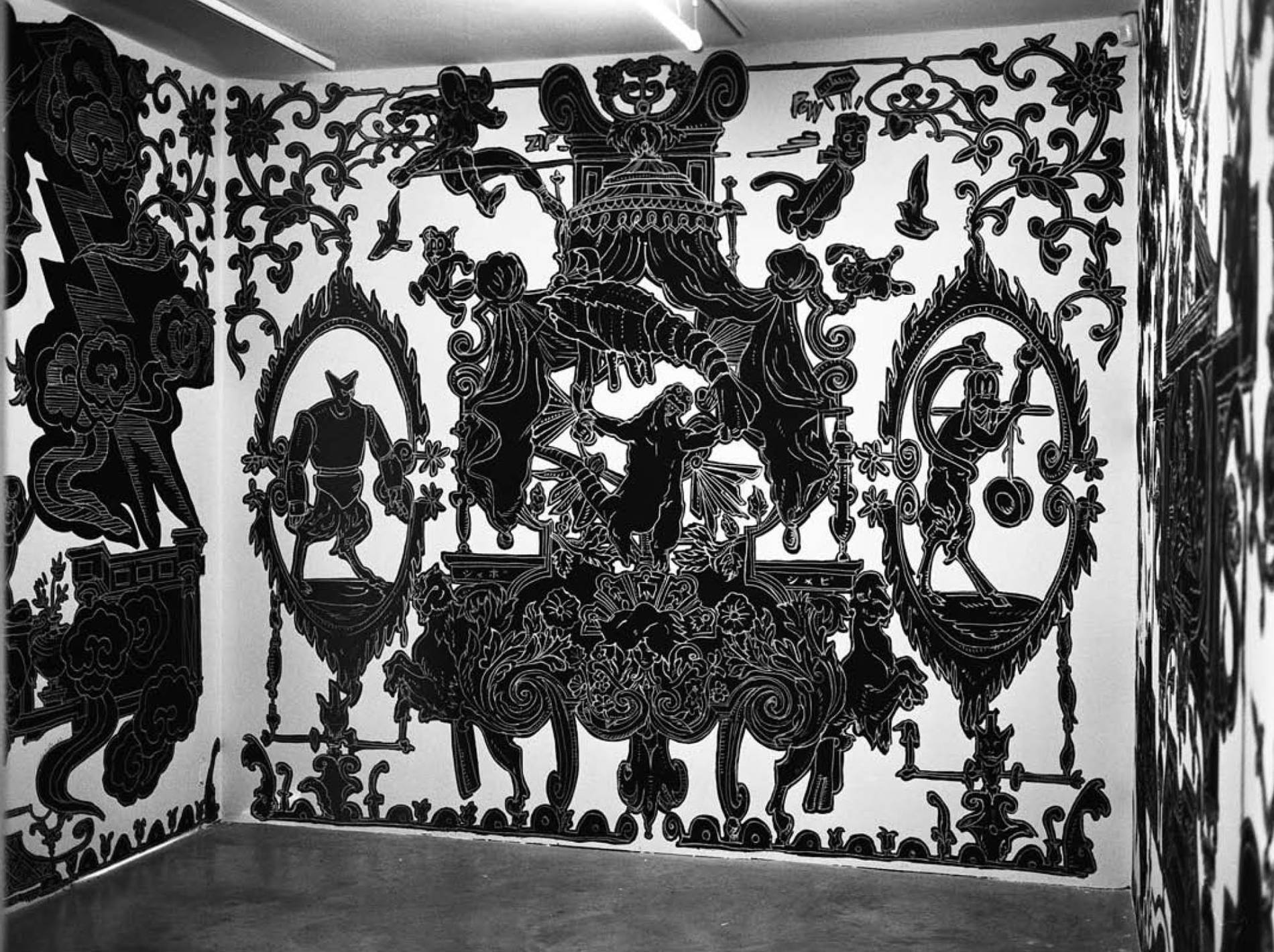 ·: Nicolas Buffe :· - Nicolas Buffe - 2007---12 - Studiolo @ La Maison Rouge, Paris - 01, 4 x 3 m : Ink, Markers on wall