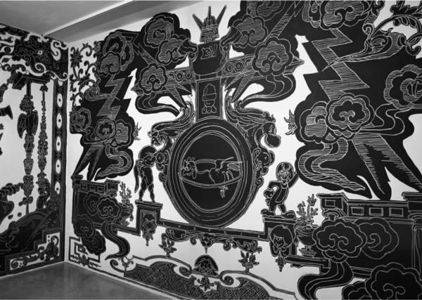 Nicolas Buffe - 2007---12 - Studiolo @ La Maison Rouge, Paris - 02, 5 x 3 m : Ink, Markers on wall