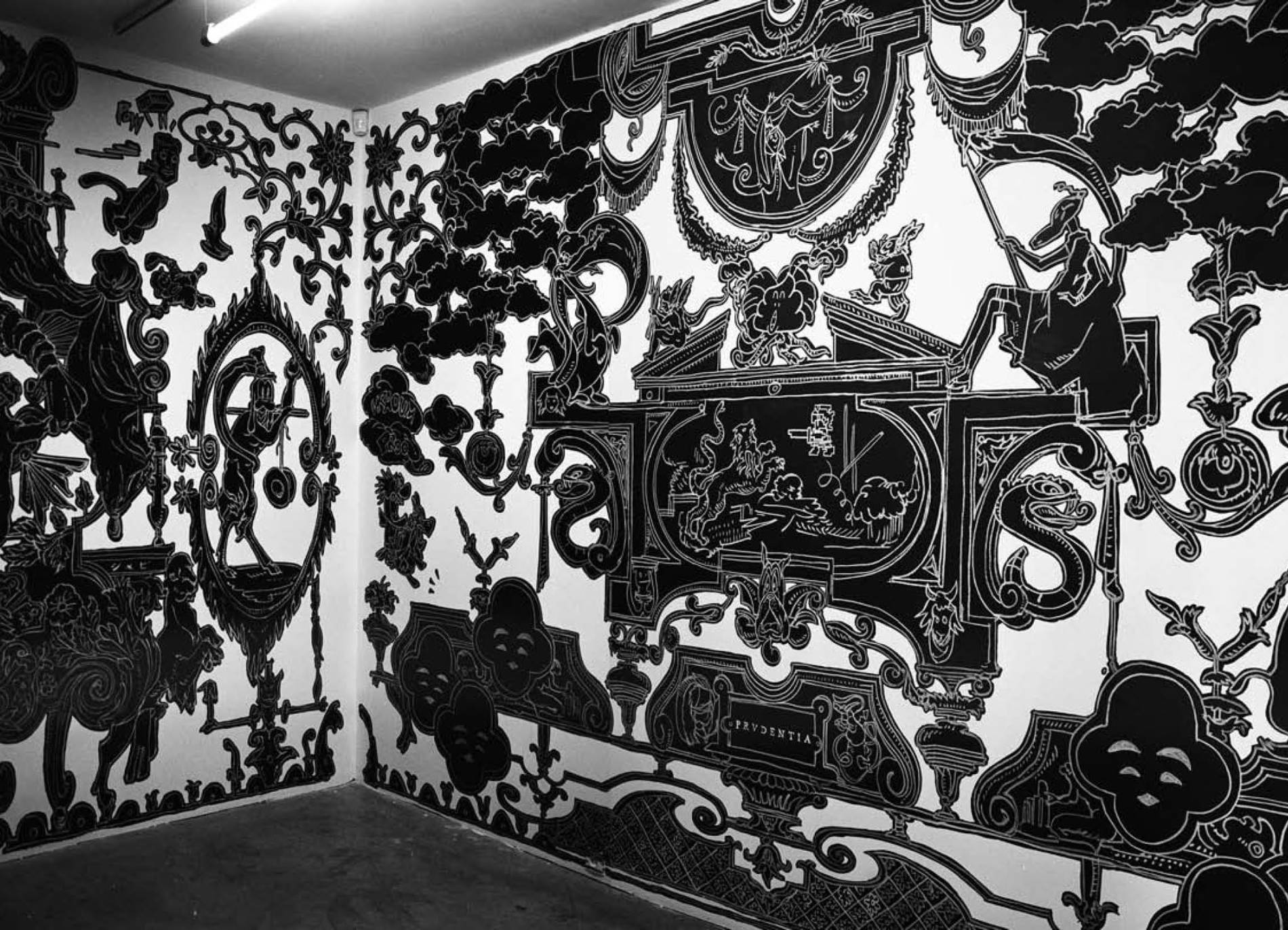 ·: Nicolas Buffe :· - Nicolas Buffe - 2007---12 - Studiolo @ La Maison Rouge, Paris - 05, 5 x 3 m : Ink, Markers on wall