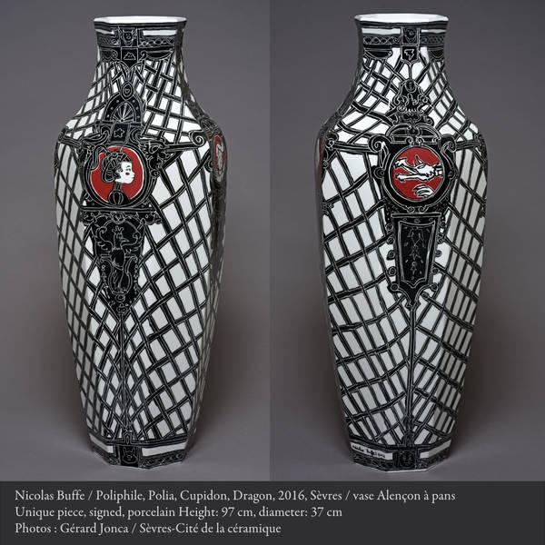 Sèvres Buffe Nicolas Vase Alençon à pans Poliphile, Polia, Cupidon, Dragon, 01